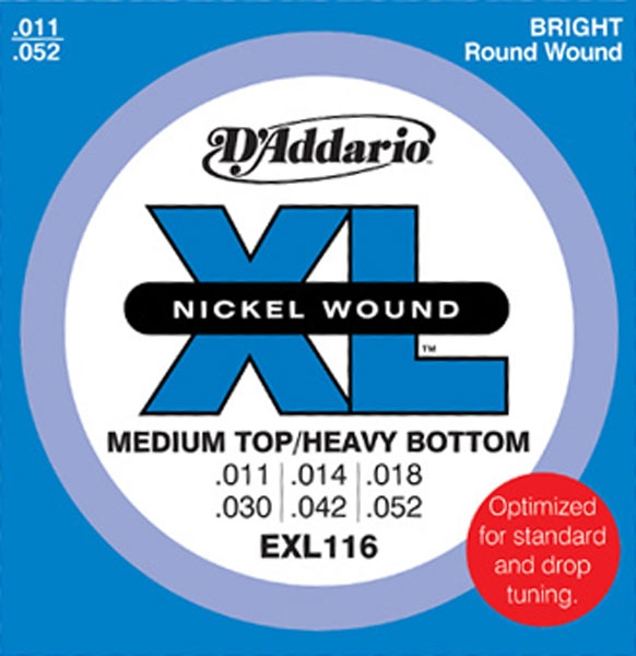 D'Addario - XL Nickel Round Wound - EXL116 Medium Top/ Heavy Bottom 11-52