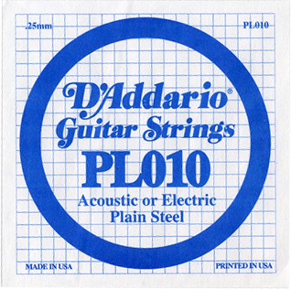 D'Addario - LP010 Electric/Acoustic Plain Steel Strings