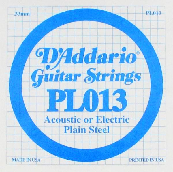 D'Addario - PL013 Silgne Plain Steel .013