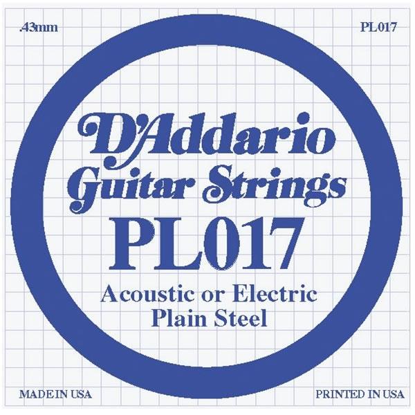 D'Addario - PL017 Silgne Plain Steel .017