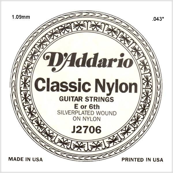 D'Addario - [J2706] Single Silver Wound 043/J27 6th Normal Tension