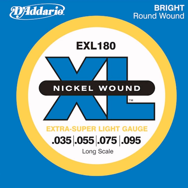 D'Addario - XL Nickel Round Wound - EXL180 muta Light Long Scale .035-.095 Basso