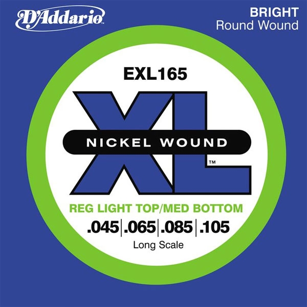 D'Addario - XL Nickel Round Wound - EXL165 muta Custom Light Long Scale .045-.105 Basso