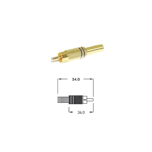 Alpha Elettronica - Connettore coassiale RCA maschio con guidacavo a molla [17-75N]