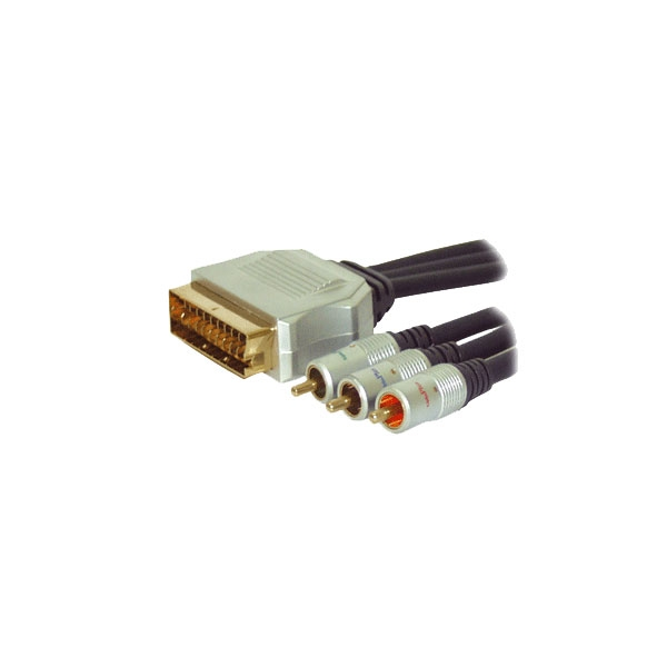 Alpha Elettronica - Cavo professionale video scart in M > 3x RCA M 1,5mt [92-065P]