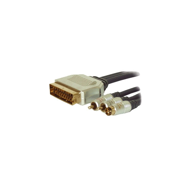 Alpha Elettronica - Cavo professionale video scart in M > 2x RCA M e S-VHS M 1,5mt [92-522P]