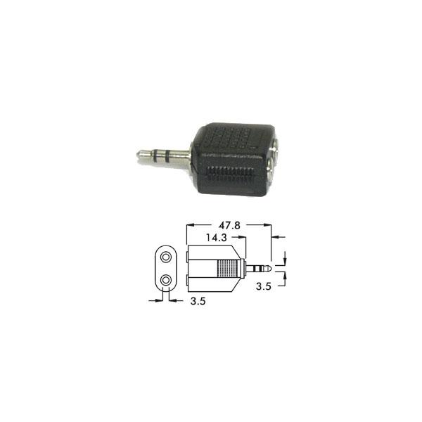 Alpha Elettronica - Adattatore jack ø3,5mm stereo maschio > 2x jack ø3,5mm stereo femmina [70-120]