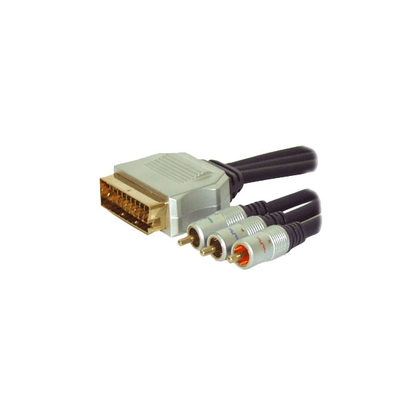 Alpha Elettronica - Cavo professionale video scart in/out M > 3x RCA RGB M 1,5mt [92-070P]