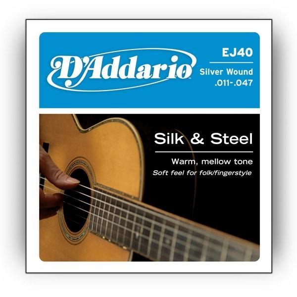 D'Addario - Silk & Steel - EJ40 muta Folk .011-.047