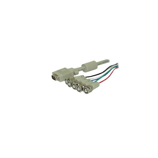 Alpha Elettronica - Cavo VGA 15 poli M con ferrite > 5x BNC M 1,5mt [95-540]