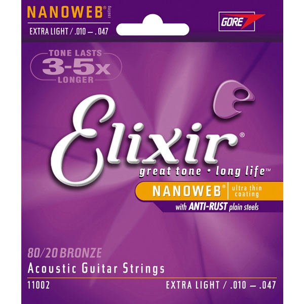 Elixir - Acoustic Guitar - [11002] Extra Light .010-.047 - 80/20 Bronze con NanoWeb / Anti-Rust Plain Steel