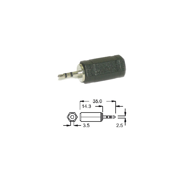 Alpha Elettronica - Adattatore jack ø3,5mm stereo femmina > jack ø2,5mm stereo maschio [70-005]