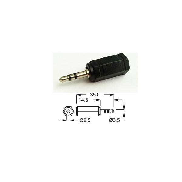 Alpha Elettronica - Adattatore jack ø2,5mm stereo femmina > jack ø3,5mm stereo maschio [70-006]