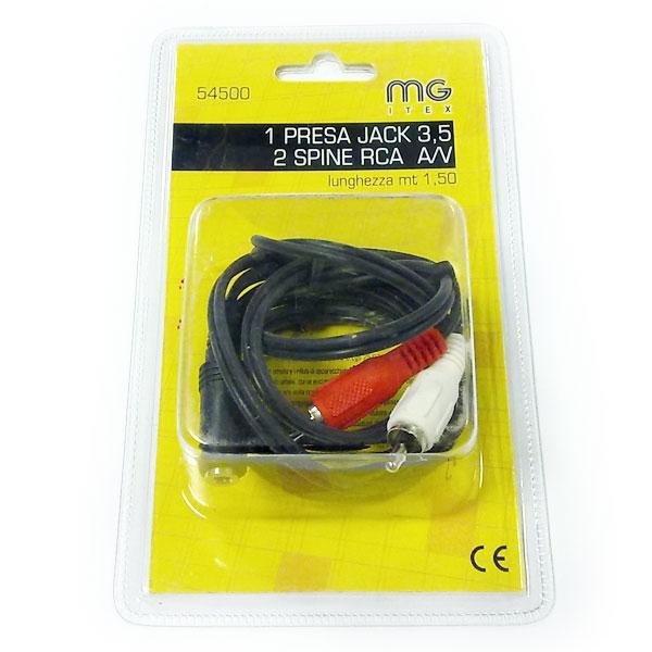 MG Itex - Cavo jack 3,5mm stereo F > 2x RCA M 1,5mt [54500]