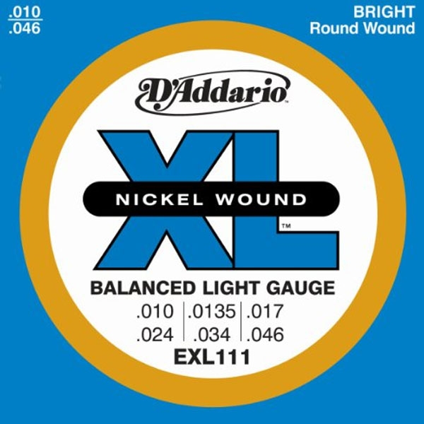 D'Addario - XL Nickel Round Wound - EXL111 Balanced Regular Light 10-46