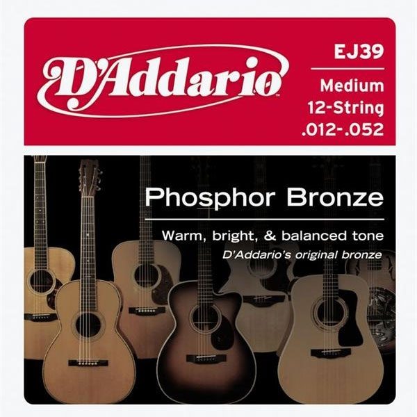 D'Addario - Phosphor Bronze Round Wound - EJ39 Medium 12-String 12-52