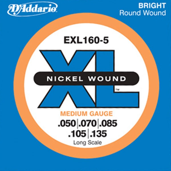 D'Addario - XL Nickel Round Wound - EXL160-5 Long Scale 5-String 50-135