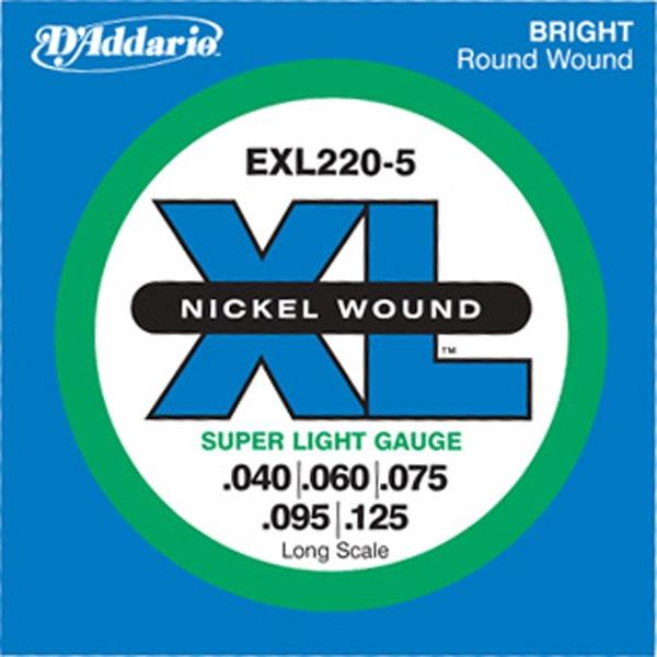 D'Addario - XL Nickel Round Wound - EXL220-5 Long Scale 40-125