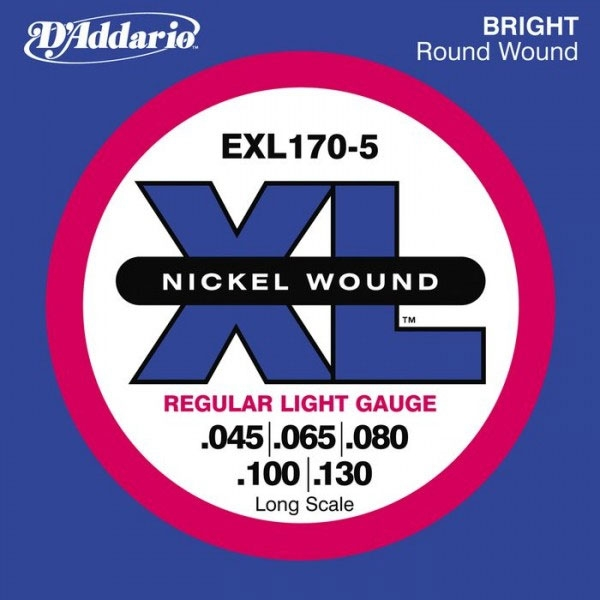 D'Addario - XL Nickel Round Wound - EXL170-5 Long Scale 5-String 45-130