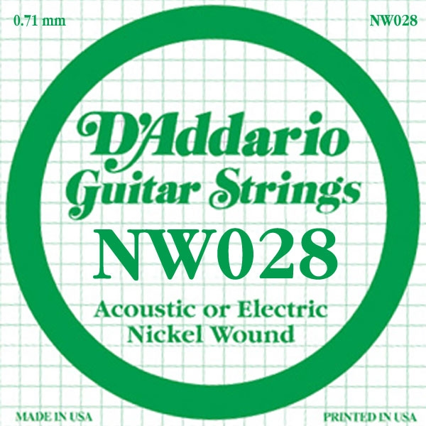 D'Addario - XL Nickel Round Wound - NW028 XL Nickel Wound Single 028