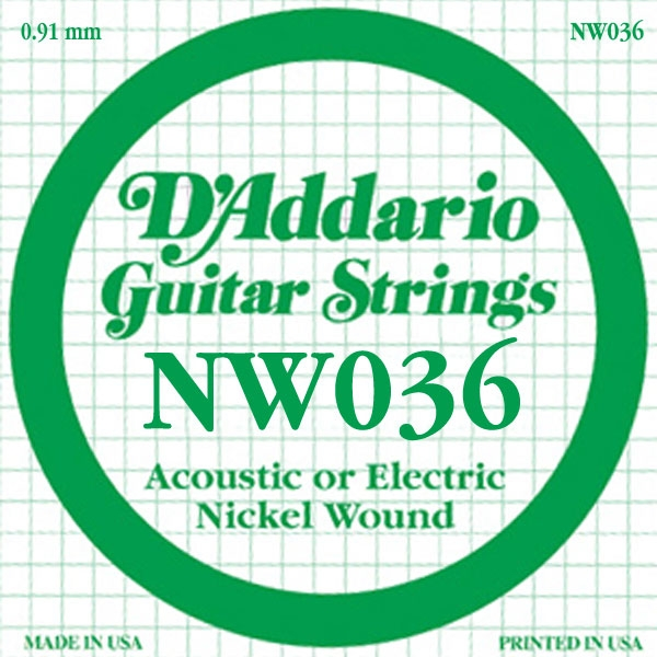 D'Addario - XL Nickel Round Wound - NW036 XL Nickel Wound Single 036