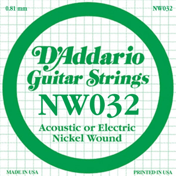 D'Addario - XL Nickel Round Wound - NW032 XL Nickel Wound Single 032