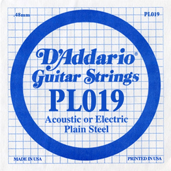 D'Addario - XL Pure Nickel Round Wound - PL019 Plain Steel Single 019