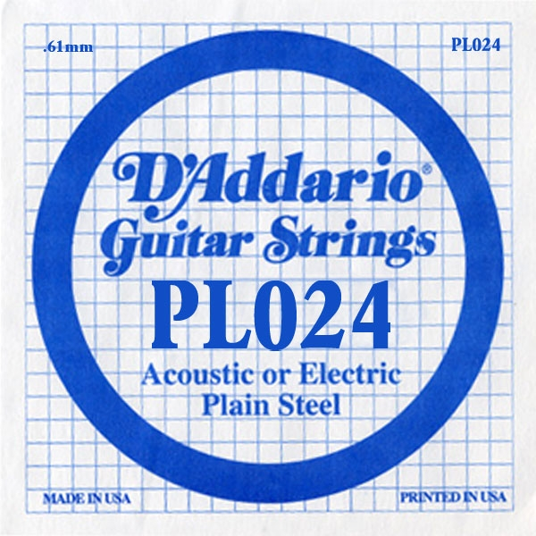 D'Addario - XL Pure Nickel Round Wound - PL024 Plain Steel Single 024