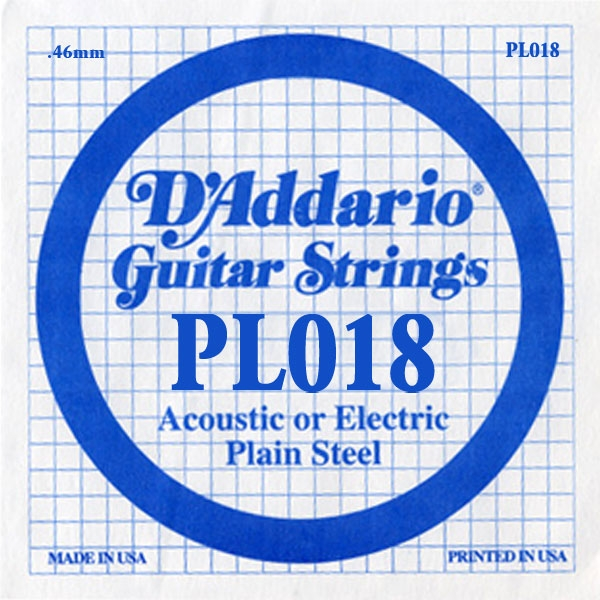 D'Addario - XL Pure Nickel Round Wound - PL018 Plain Steel Single 018