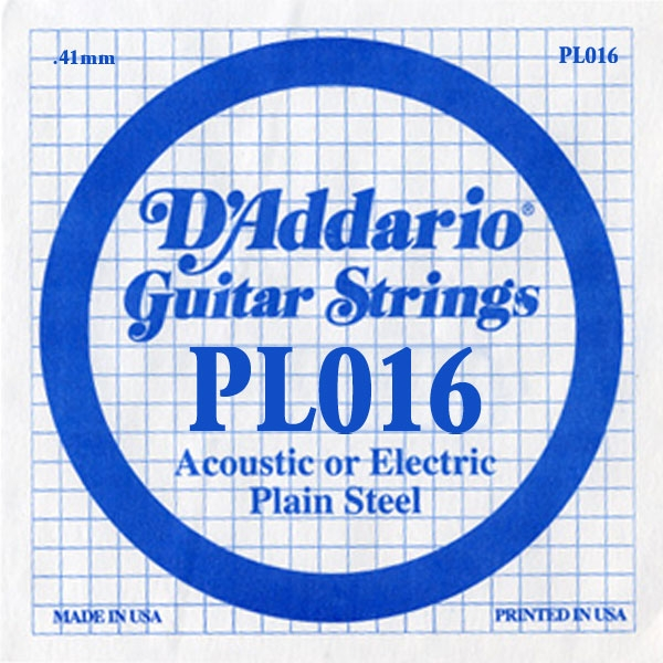 D'Addario - XL Pure Nickel Round Wound - PL016 Plain Steel Single 016