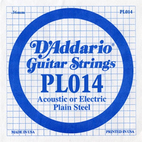D'Addario - XL Pure Nickel Round Wound - PL014 Plain Steel Single 014