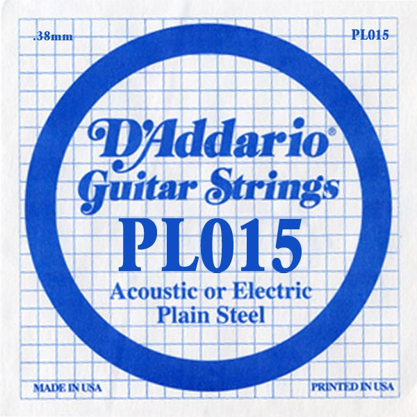 D'Addario - XL Pure Nickel Round Wound - PL015 Plain Steel Single 015