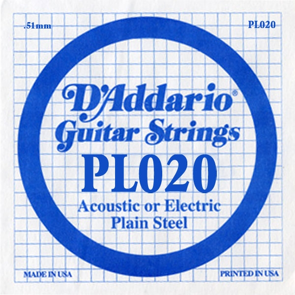 D'Addario - XL Pure Nickel Round Wound - PL020 Plain Steel Single 020