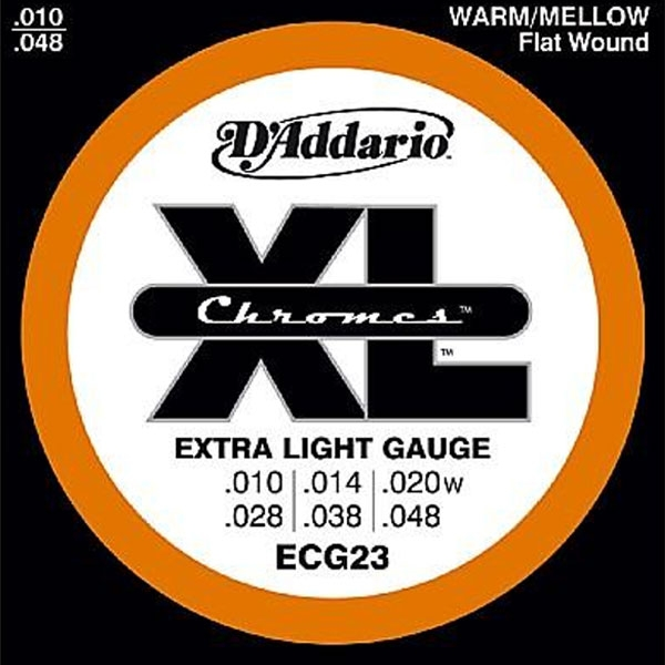 D'Addario - XL Chromes Flat Wound - ECG23 Chromes Extra Light 10-48