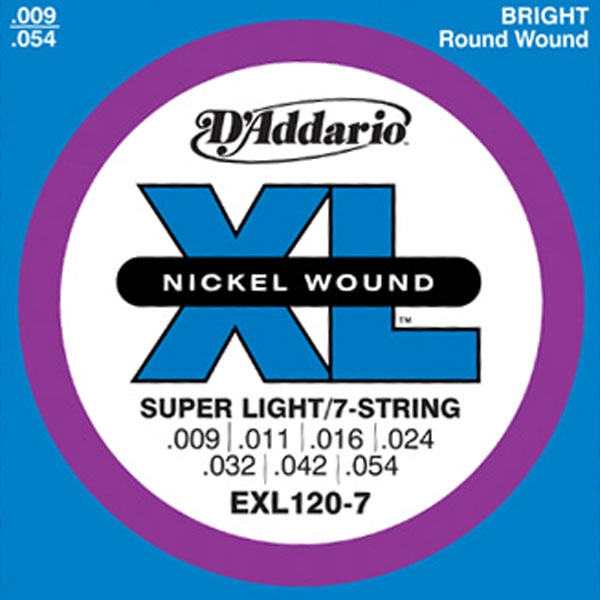 D'Addario - XL Nickel Round Wound - EXL120-7 Super Light 7-String 9-54
