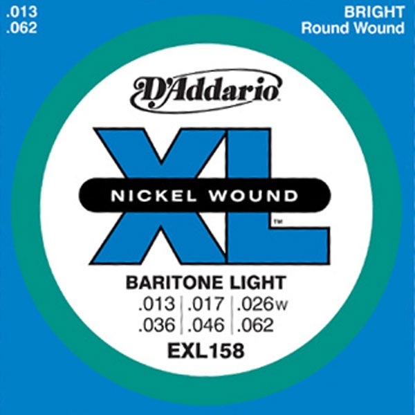 D'Addario - XL Nickel Round Wound - EXL158 Baritone Guitar Light 13-62