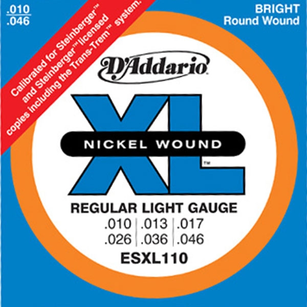 D'Addario - XL Nickel Round Wound - ESXL110 Regular Light Double Ball End 10-46