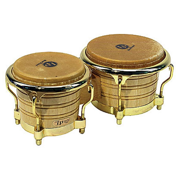 Lp Latin Percussion - LP201AX2AW Generation II Wood Bongos Natural Finish, Gold Tone