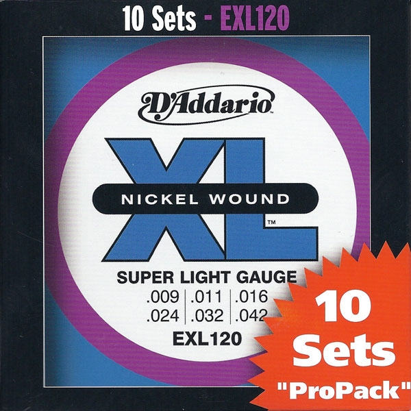 D'Addario - XL Nickel Round Wound - EXL120-10P muta Super Light .009-.042 (10xSet)