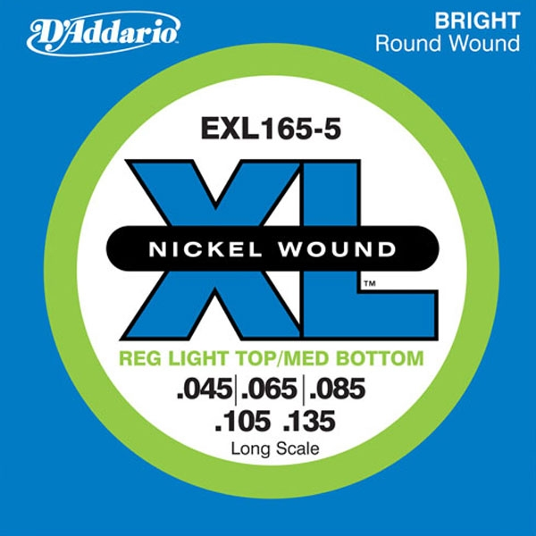 D'Addario - XL Nickel Round Wound - EXL165-5 muta Light Long Scale .045-.135 Basso