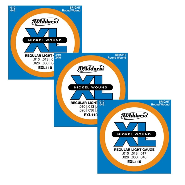 D'Addario - XL Nickel Round Wound - EXL110 muta Regular Light .010-.046 (3xSet)