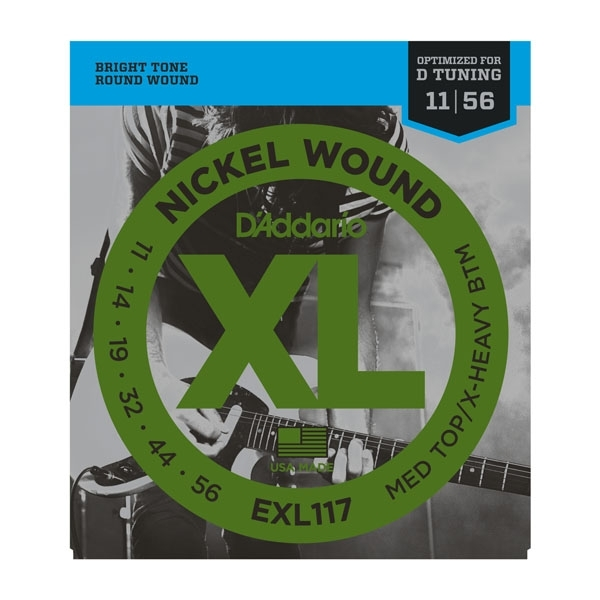 D'Addario - XL Nickel Round Wound - EXL117 muta Medium Top/Extra-Heavy Bottom .011-.056