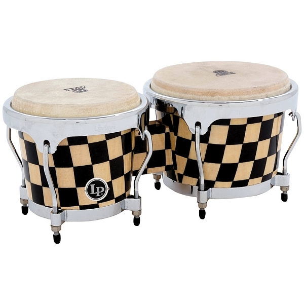 Lp Latin Percussion - Aspire - [LPA601-CHKC] Bongos in Legno Accent, Checkerboard/Chrome