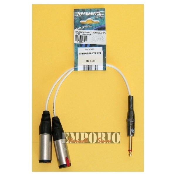 Reference - [RTWINPAD-GR-J/2JF-R/N] Cavo multimediale 2JF / Jack M - 30 cm