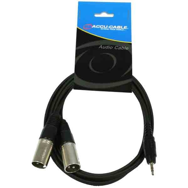 Accu-Cable - [AC-J3S-2XM/3] Jack 3,5 mm. stereo - 2 xlr maschio