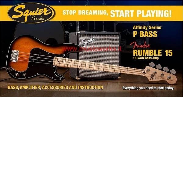 Fender - Squier Affinity - [0301672650SQ.AF.PACK-P.BASSRUMBLE-15-AMPBSB] BASSO PRECISION CON AMP FENDER