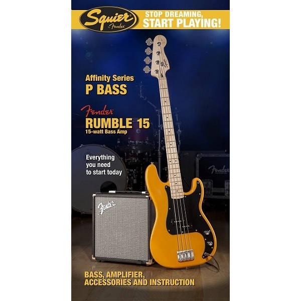 Fender - Squier Affinity - [0301672650 SQ.AF.PACK-P.BASSRUMBLE-15-AMPBTB] BASSO PRECISION CON AMP FENDER