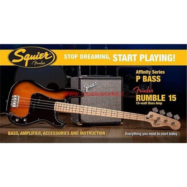 Fender - Squier Affinity -  [0301672632SQ.AF.PACK-P.BASSRUMBLE-15-AMPBSB] BASSO PRECISION CON AMP FENDER