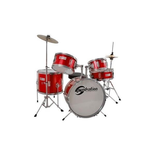 Soundsation - [JDK516MR] Batteria junior acustica completa per bambini, colore rosso