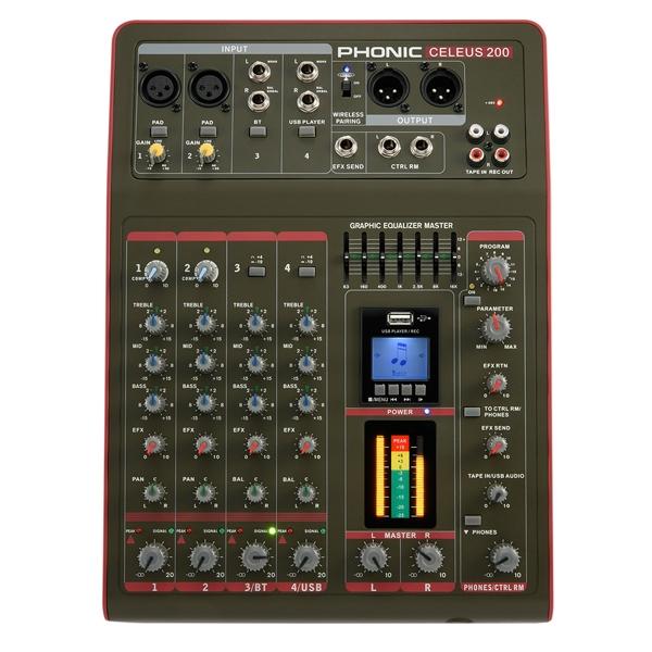Phonic - [CELEUS 200] Mixer 6 canali con effetti USB e bluetooth
